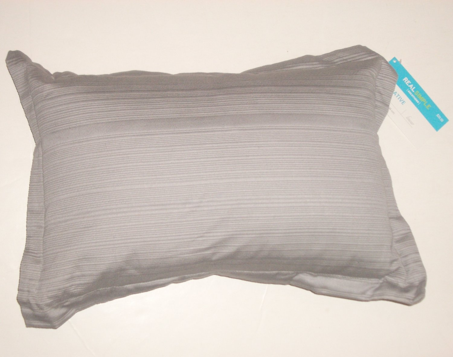 """Real Simple Decorative Throw Pillow 12"""" x 18"""" Gray Feather & Down"""