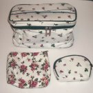MODELLA 3 Piece Travel Tote Cosmetic Bag Floral Rose Pattern New With Tags