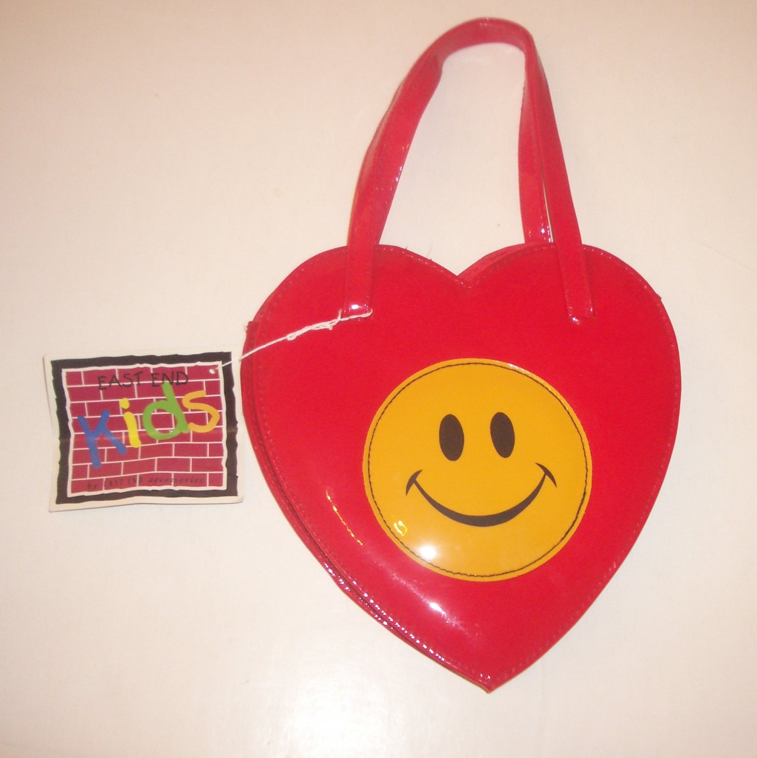 East End Kids Smiley Face Plastic Novelty Purse Red Heart Shaped Cute!