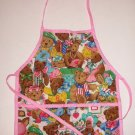 Child's Apron With Teddy Bears Pockets Pink Trim Kids Kitchen Play