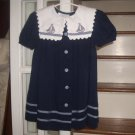 Bonnie Jean 4T Toddler Girl Dress Blue with Buttons Gingham Trim & Sailboats Vintage