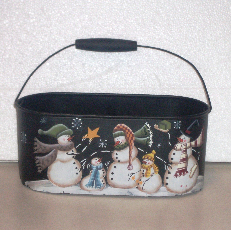 Metal bucket snowman winter decor or christmas card holder
