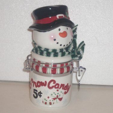 Snowman Cookie or Candy Jar, Coyne's & Co., Snow Candy 5 Cents Christmas Decor
