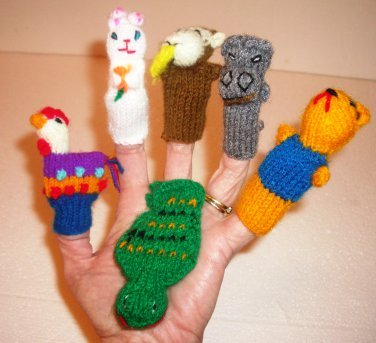Hand Knitted Finger Puppets 6 pieces Animals, Pre-school, Sing-a-long, Soft, Games