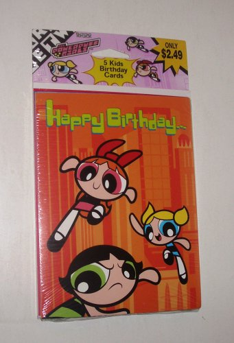 Powerpuff Girls SEALED Vintage Invitations 2001 OOP American Greetings Set of 5