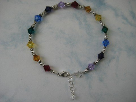 Swarovski Crystal and Sterling Silver Chakra Bracelet