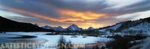 "Orange Skies Over the Teton Range - 10""x 30"" Signed Panoramic Print"