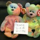 PEACE THE TYE DIE TEDDY BEAR BEANIE BABY