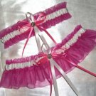 Wedding Hot Pink and White Garter Set