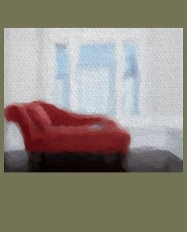 "The Red Chaise - Sableux Peut-être Print on Canvas (28.8"" x 24.0"")"