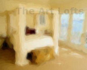 """The White Canopy Bed - Sableux Peut-être Print on Canvas (28.8"""" x 24.0"""")"""