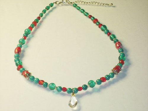 Crystal Quarts Pendant with Turquoise Stone Necklace