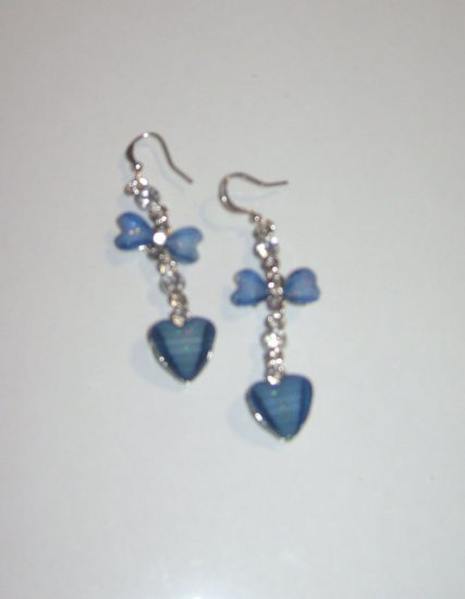 Blue Acrylic Heart & Bow Tie With Rhinestones Earrings