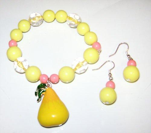 Acrylic Pear Elastic Bracelet & Earrings Set