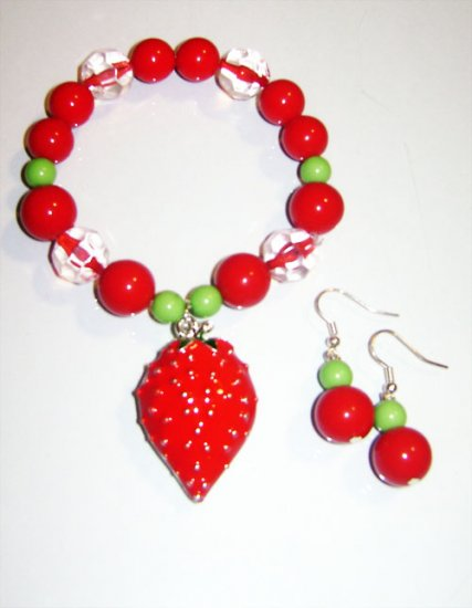 Strawberry Charm Bracelet & Earrings