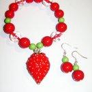 Strawberry Charm Bracelet & Earrings