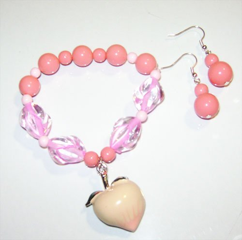 Peach Charm Bracelet & Earrings