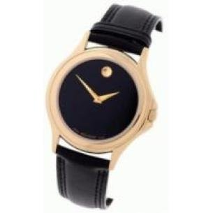Movado Men's Luxury Black Leather Watch
