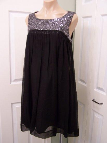 Calvin Klein Black/Silver SILK Mini Dress size 8