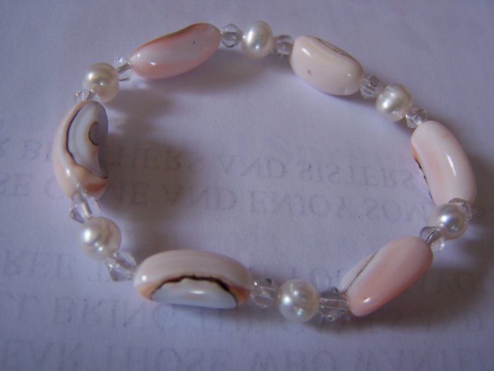 FRESHWATER PEARL BRACELET - Pink/White Stretch