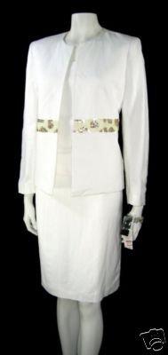 KASPER White Linen 3pc Skirt Suit Sz 6