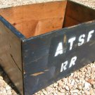 Old WOODEN Box Crate Marked ATSF RR Blue