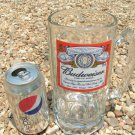 1990 TALL Big THICK Glass Budweiser Mug Stein