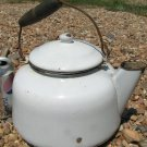 Old Enamelware Coffee tea kettle boiler pot Vintage wood handle ecr