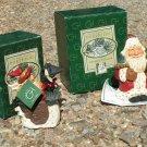 TWO David Frykman Santa goose tree 1415 1408 figures Christmas collection