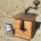 Antique Tall Cofee Grinder Primitive old dovetailed wood metal ec