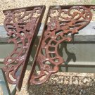 Two HUGE Cast Iron corner Corbels Gate Braces NO mounting holes