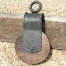 Old Iron Block Tackle Pulley with Wood Wheel Western Nautical decor 1368 ec