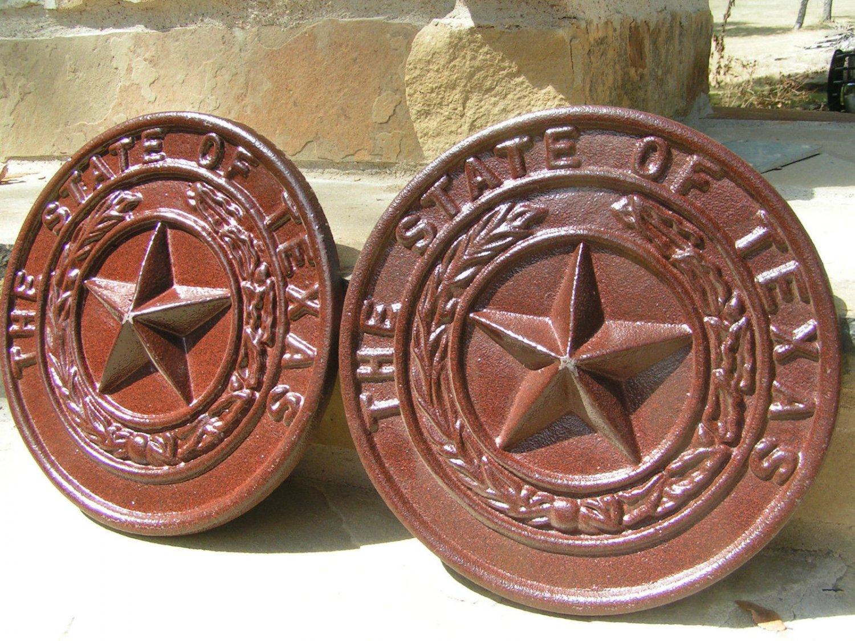 2 Cast Iron Texas Star Seal Pediments