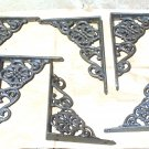 6 Cast Iron Wall Shelf Brackets Corbel VICTORIAN Small Braces Gunmetal Grey ec