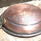 Old Copper collander strainer tin lined punch pattern ec