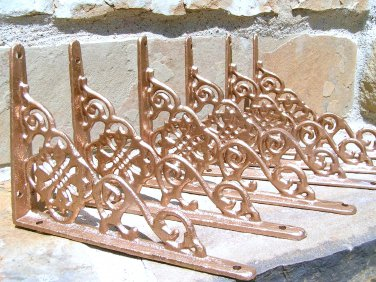 SIX (3 pair) Cast Iron Wall Shelf Brackets Corbel VICTORIAN Braces Shiny Copper