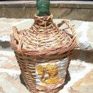 WOVEN WICKER Wine Bottle Jug VINTAGE Green Glass SPAIN 2076