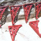 Six Cast Iron RED Braces Tiny Small Bracket Corbels 6 ec