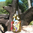 Old Amber colored wine bottle recycled art piece Signed ec