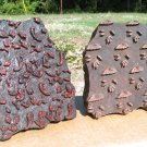 Pair of Old Hand Carved Fabric Stamping Ink Blocks Nepal 24 25 ec
