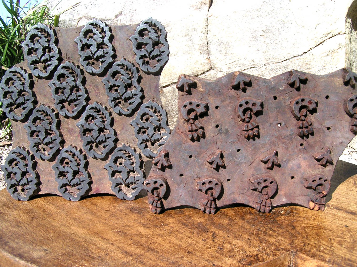 Pair of Old Hand Carved Fabric Stamping Ink Blocks Nepal 2 16 ec