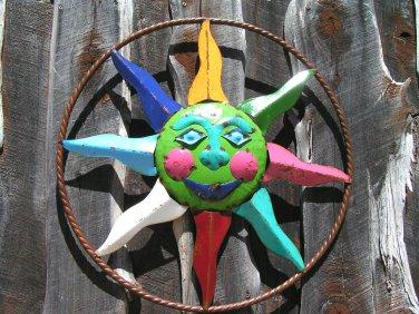 Recycled Junk Iron Sun Face Garden Metal Art Wall Sign 0122 ec