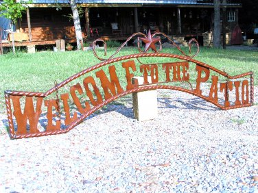 Metal Welcome to the PATIO Sign Wall Entry Gate EXTRA LARGE 56 1/2 inch ec