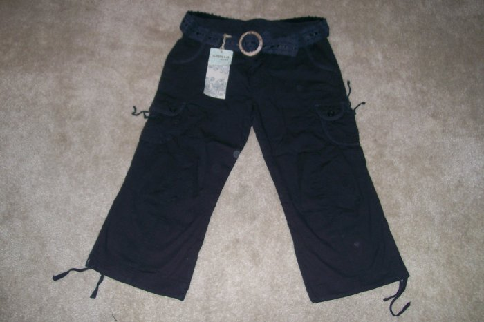 "NWT 7/8 STRETCH ""APOLLO JEANS"" BLACK CAPRIS...SEXY!"
