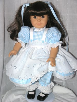 """18"""" AMERICAN GIRL DOLL CLOTHES - PINAFORE; DRESS, PANTALOONS, TIES  www.exclusivelylinda.ecrater.com"""