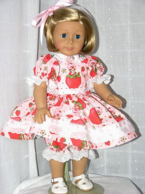 """18"""" AMERICAN GIRL DOLL CLOTHES - DRESS, PANTALOONS, HAIR RIBBON www.exclusivelylinda.ecrater.com"""