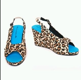 Saints & Sailors Leopard Print Wedge Shoes sz 7