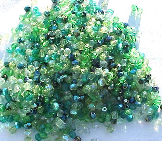 Vintage Green Mix Fire Polish Czech Glass Beads 4mm
