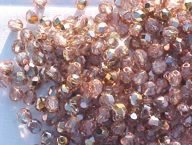 Vintage Copper Rose Fire Polish Czech Glass Beads 4mm