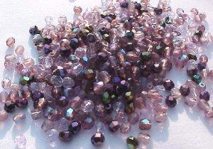 Vintage Purples Mix Fire Polish Czech Glass Beads 3mm
